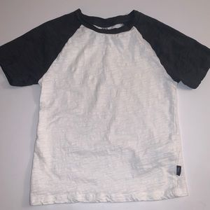 Zara Kids White & Grey Baseball Burnout T-Shirt
